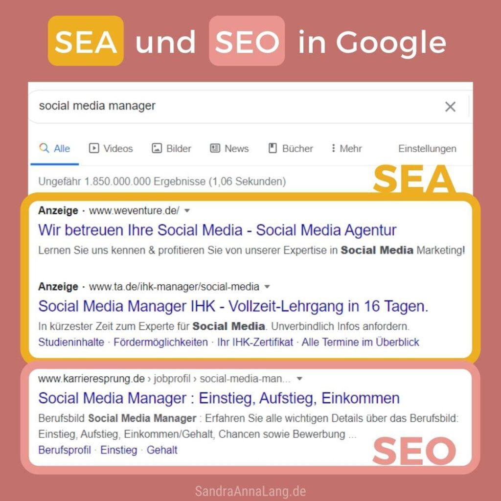 SEA und SEO in Google